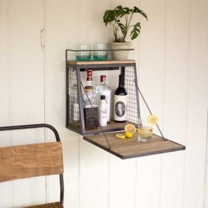 Wall Bar with Wood Fold Down Shelf