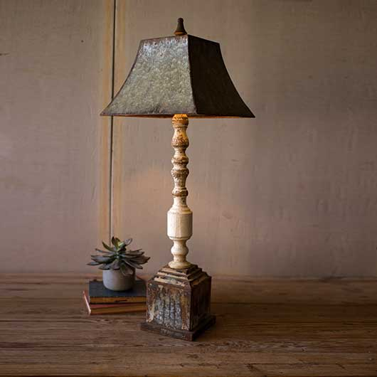 Turned Banister Lamp with Metal Shade