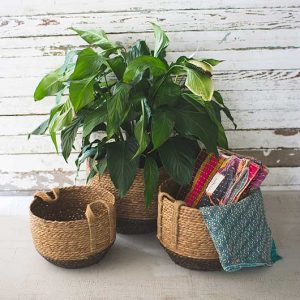 SET OF 3 ROUND BASKETS WITH JUTE HANDLES