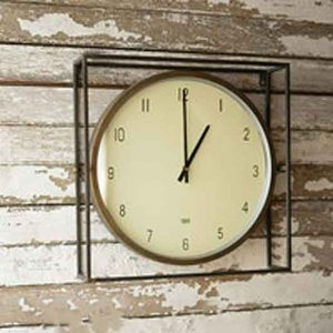 Round Clock with Square Metal Frame