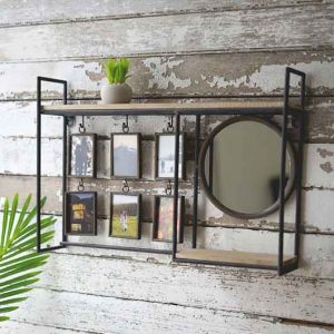 Wall Shelf with Mirror and Photo Frames