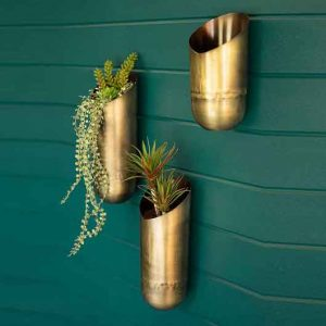 Antique Brass Wall Vases