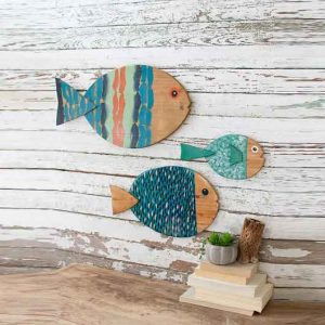 Painted Wooden Fish Wall Hangings